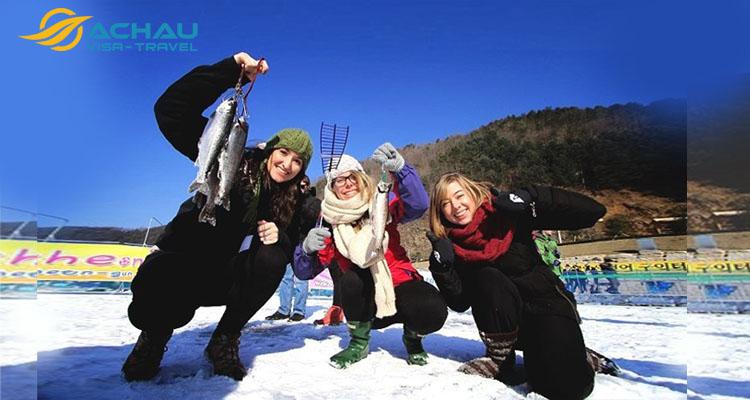 câu cá trên băng Hàn Quốc