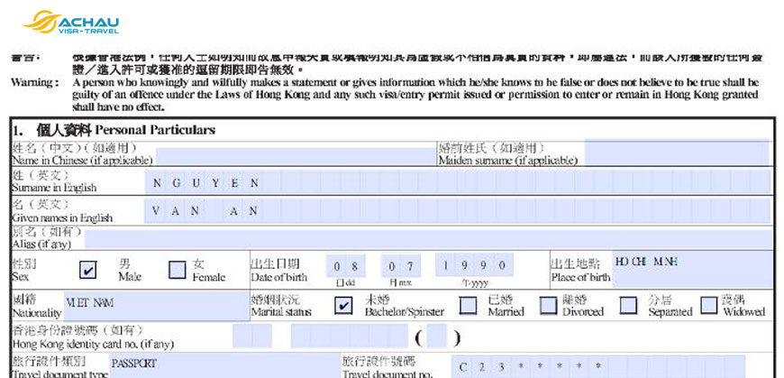 Hướng dẫn chi tiết cách điền tờ khai xin Visa Hong Kong