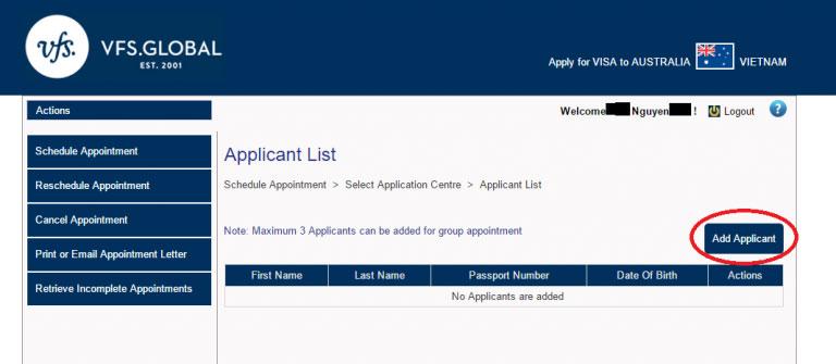 Hướng dẫn cách đặt lịch hẹn online nộp hồ sơ xin visa Úc 1