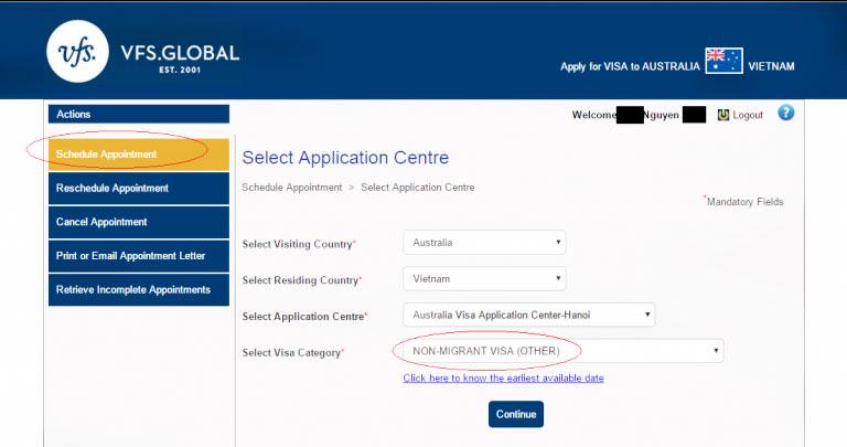 Hướng dẫn cách đặt lịch hẹn online nộp hồ sơ xin visa Úc