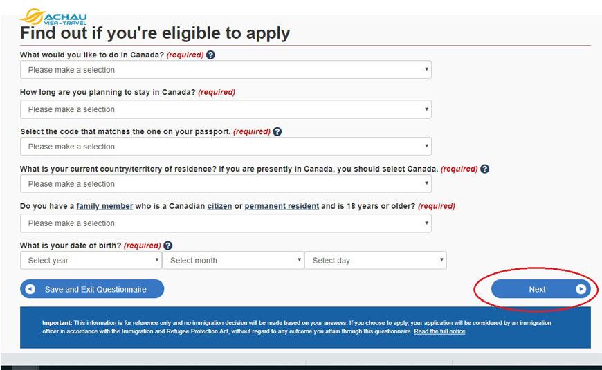 Hướng dẫn thủ tục nộp hồ sơ xin visa Canada Online 8