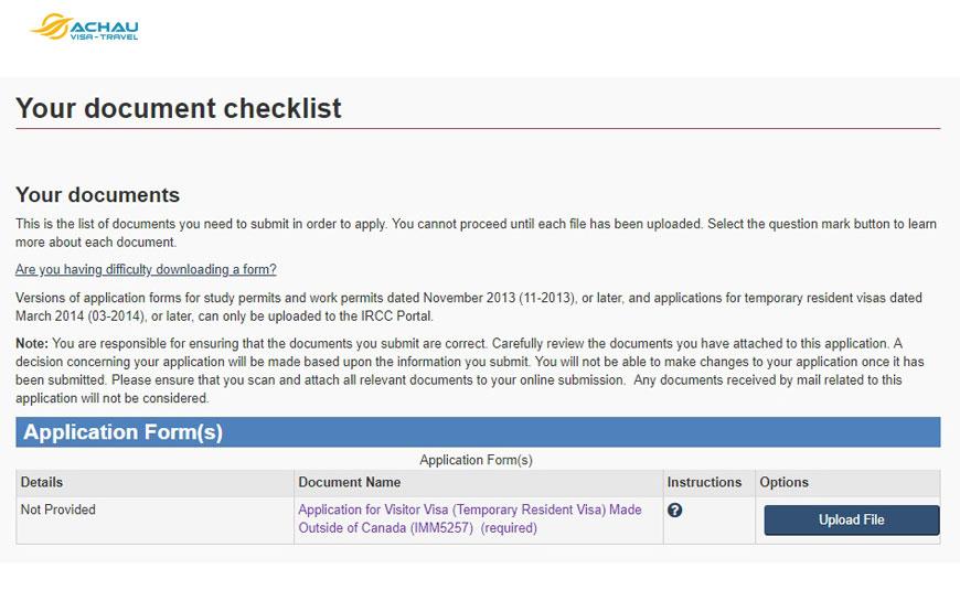 Hướng dẫn thủ tục nộp hồ sơ xin visa Canada Online 9
