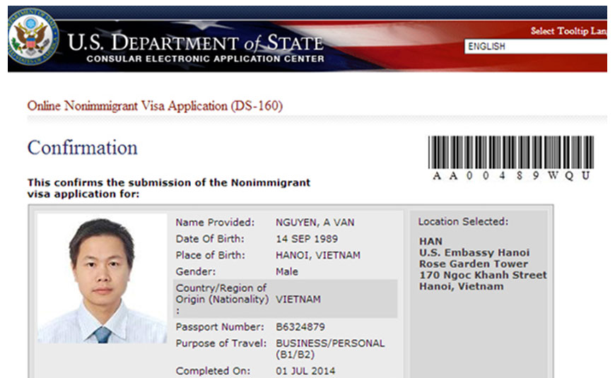 Những thông tin về mẫu đơn DS - 160 khi xin visa Mỹ