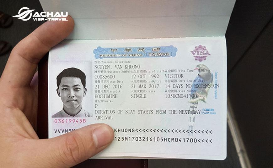 visa du lịch Đài Loan 2